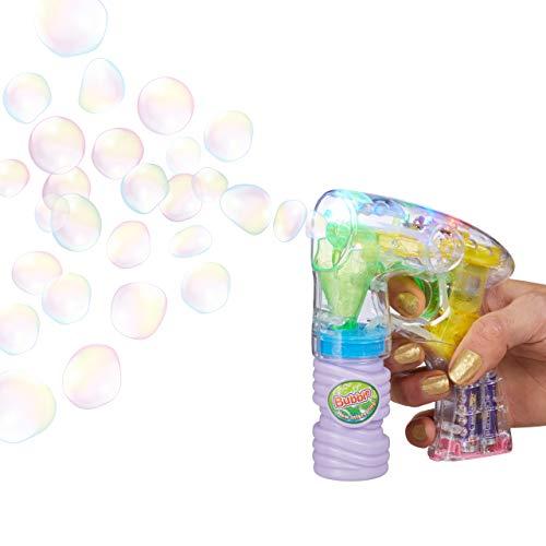 Relaxdays Pistolet à bulles machine à bulles savon canon à bulles lumière LED HxlxP: 14,5 x 11,5...