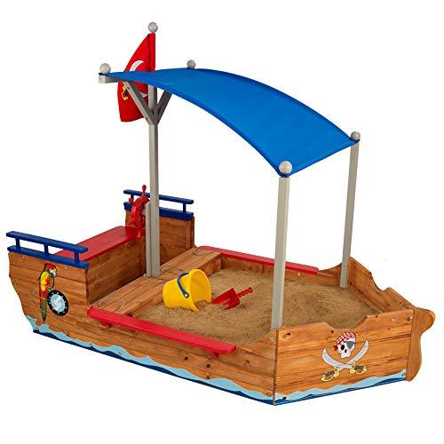 KidKraft 128 Bac à sable Bateau de Pirate, structure extérieur pour enfant, aire de jeux