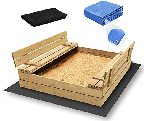 ADGO Bac à sable en bois fermé de 120 x 120 cm avec bancs. Le kit contient un non-tissé en...