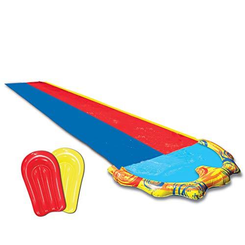 BANZAI Tapis de Glisse Toboggan Eau Piscine avec Jet d'eau - 2 Pistes - avec 2 Bodyboards !