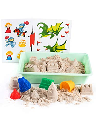 1kg de sable cinétique avec les moules chateau fort jouet avec bac à sable Sable magique à...