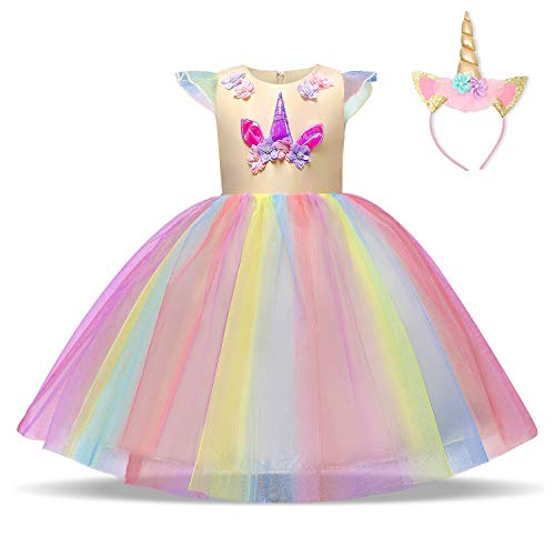 NNJXD Filles Licorne Party Costume Fleur Cosplay Mariage Halloween Fantaisie Princesse Robe +...