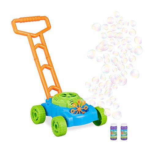 Relaxdays Tondeuse à gazon à bulles machine à bulles de savon jouet enfant jeux à piles,...