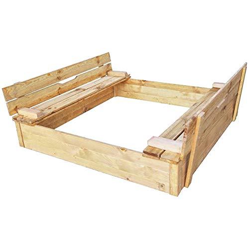 RM E-Commerce Bac à sable avec couvercle rabattable, Sablière carré en bois, Table de sable avec...