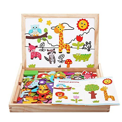 BeebeeRun Puzzles Enfant en Bois Magnétique 110+ Pièces,Jouet Garcon 2 Ans,Jouet en Bois Enfants...