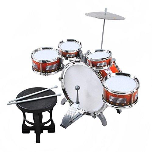 ISO TRADE Ensemble de Batterie Enfant XL z avec 5 Tambours et Tabouret Set Batterie Jouets Musical...