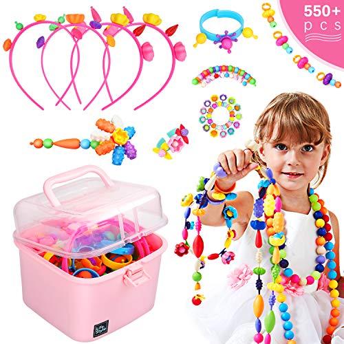 Ucradle Pop Perles, 550 pièces Perles pour Enfants sans Fil Bijoux Collier Bracelet Anneaux DIY...