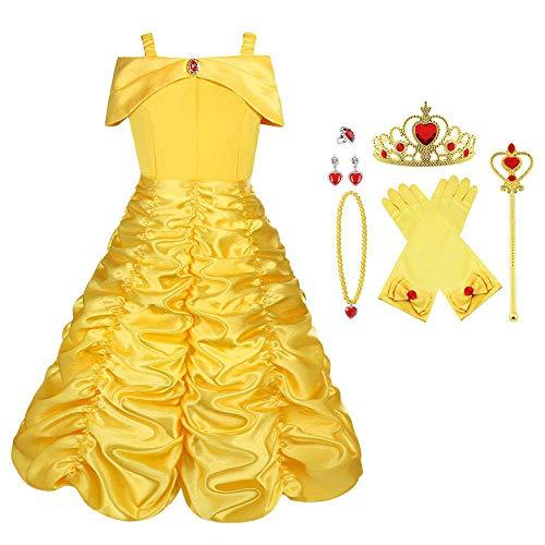 Vicloon Reine des Neiges Elsa Princesse Robe/Deguisement de La Belle et La Bête/Cape à Capuche...