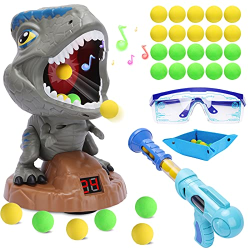 Dinosaure Enfant Jouet Cible Jouet Jeu De Tir, avec 1 Pistolet Power Popper Balle Souple et LCD...
