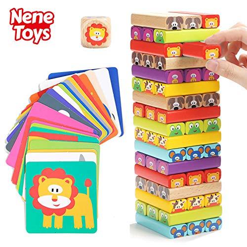 Nene Toys – Tour de Blocs Empilables en Bois avec Couleurs et Animaux - Jeu d'adresse et...
