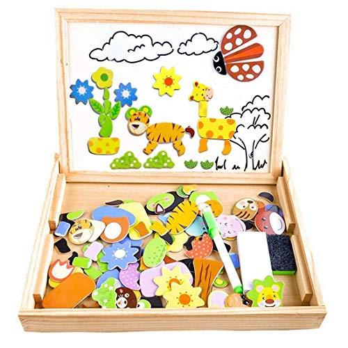 Puzzles Enfant en Bois Magnétique, COOLJOY Jigsaw avec Tableau Noir de Chevalet à Double Face...