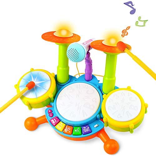 Tambour Jouet Enfants Instruments de Musique pour Les Tout-Petits Avec des Comptines Kit de Batterie...