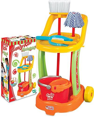 Dede chariot menage enfant, menagere enfant, nettoyage jouet, fille, kit jeux menage, jeux balais 9...