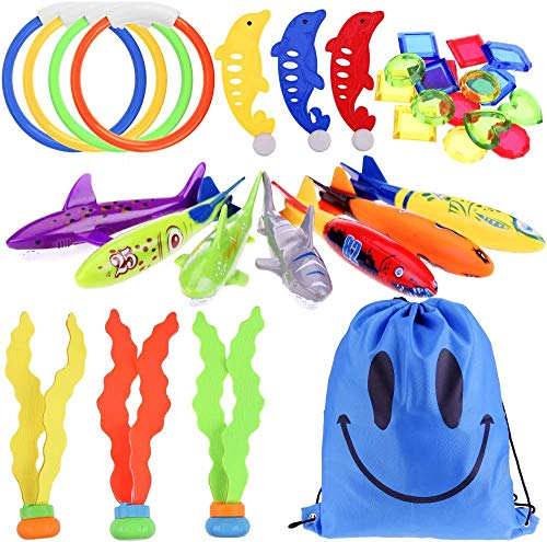 Faburo 34pcs Jouets de Plongée, Jouets de Natation Piscine, Jouet sous Eau été avec Anneaux de...