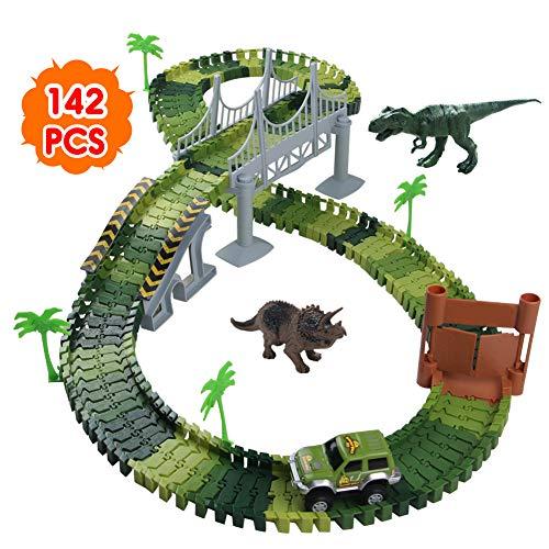 Nuheby Circuit Dinosaure Voiture Flexible Circuit de Voiture Jeu Educatif Creation Enfant pour...