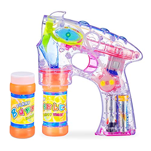 Relaxdays Pistolet à bulles enfant machine à bulles savon canon à bulles lumière LED set de 2,...