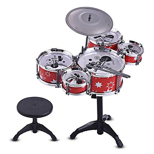 Muslady Enfants Jazz Drum Set Kit Musical Instrument Éducatif Jouet 5 Tambours + 1 Cymbale avec...