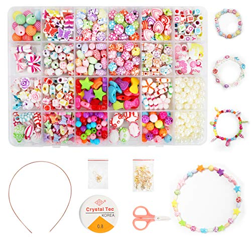 Ucradle Enfants Bricolage Perles Set, 550pcs Perles pour alphabet poney pour la fabrication de...