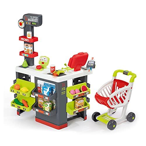 Smoby - Supermarket - Marchande pour Enfant - Chariot de Course Inclus - Vraie Calculatrice - 42...