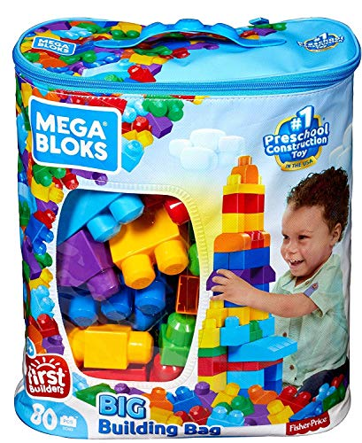 Mega Bloks Sac bleu, jeu de blocs de construction, 80 pièces, jouet pour bébé et enfant de 1 à 5...