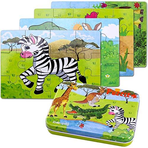 BBLIKE Jouet Puzzle en Bois pour Enfants, 4 Niveaux de Difficulté Différents, 9 Pièces, 12...