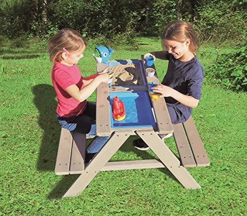 Table de jeu à eau et sable pour enfant/table en bois massif avec bancs, plateau de table amovible...