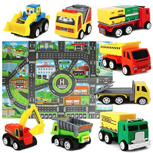Mini Modèle de Voiture Ensemble de Jouets de camions avec Tapis de Jeu pour les Enfants Garcon 3...