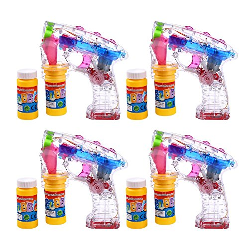 Schramm® 4-Pack Pistolets à Bulles LED avec 2x50ml de Liquide à Bulles sans Piles Pistolet à...