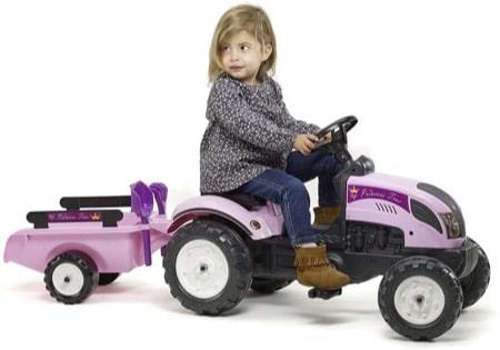 Tracteur à pédale rose